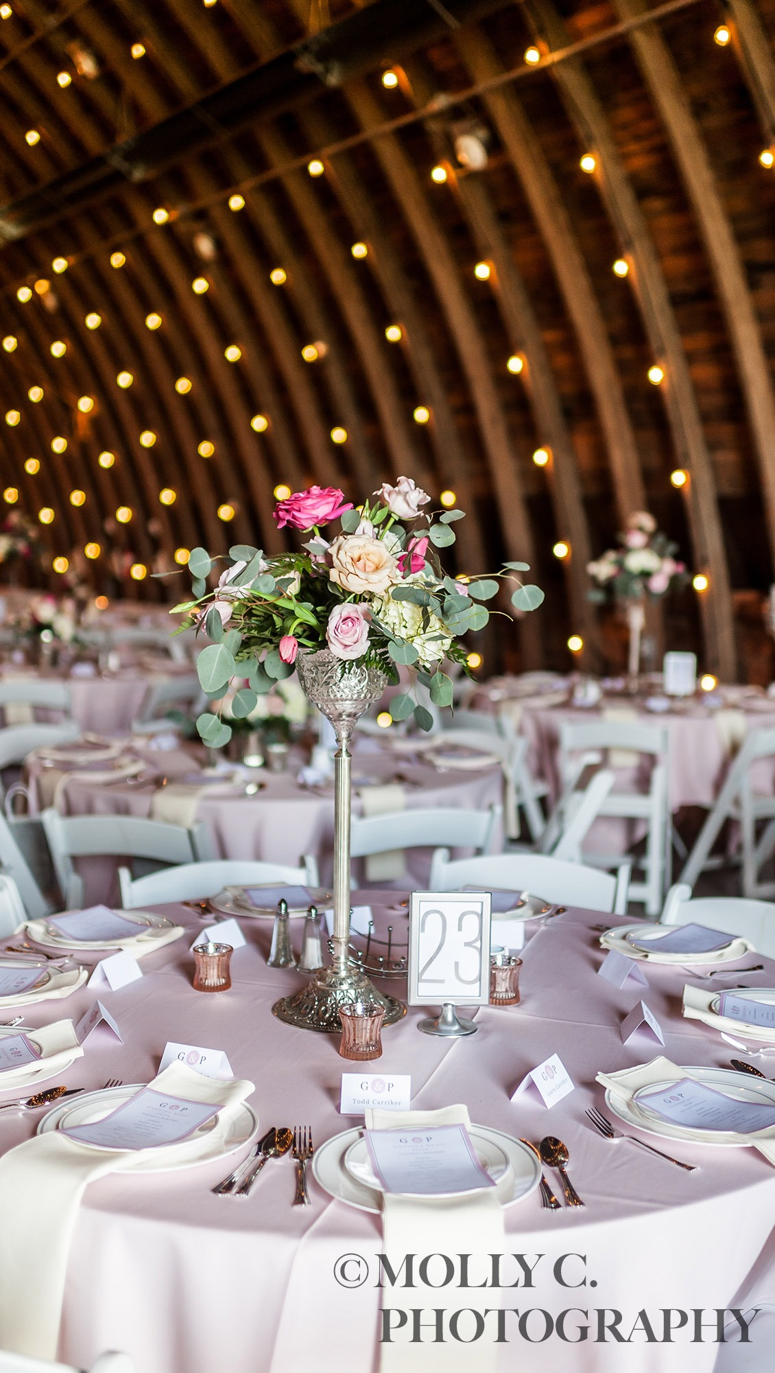 Tall floral centerpiece   Molly C. Photography   Debbie's Celebration Barn